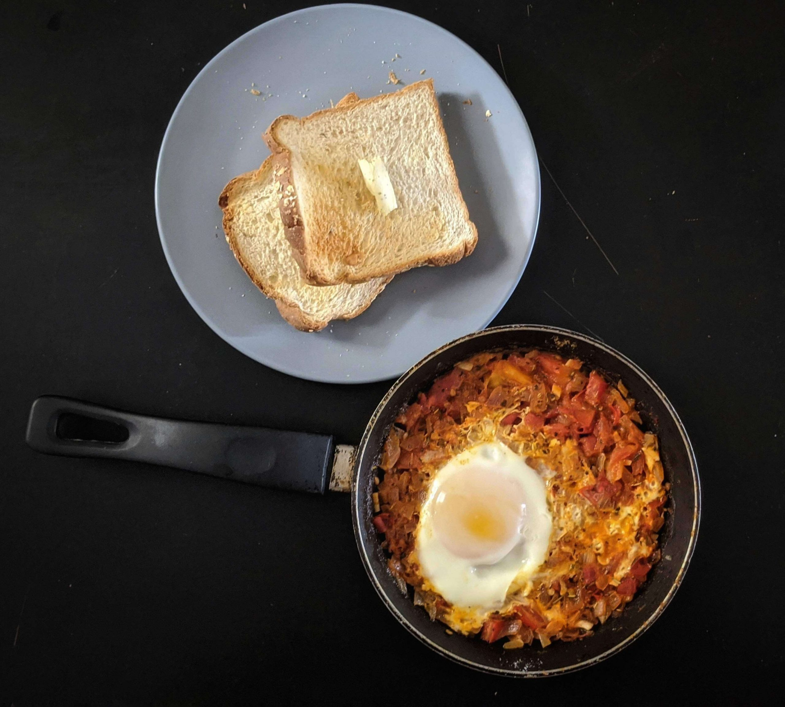 Egg Shakshuka - Ready to eat with buttered toast