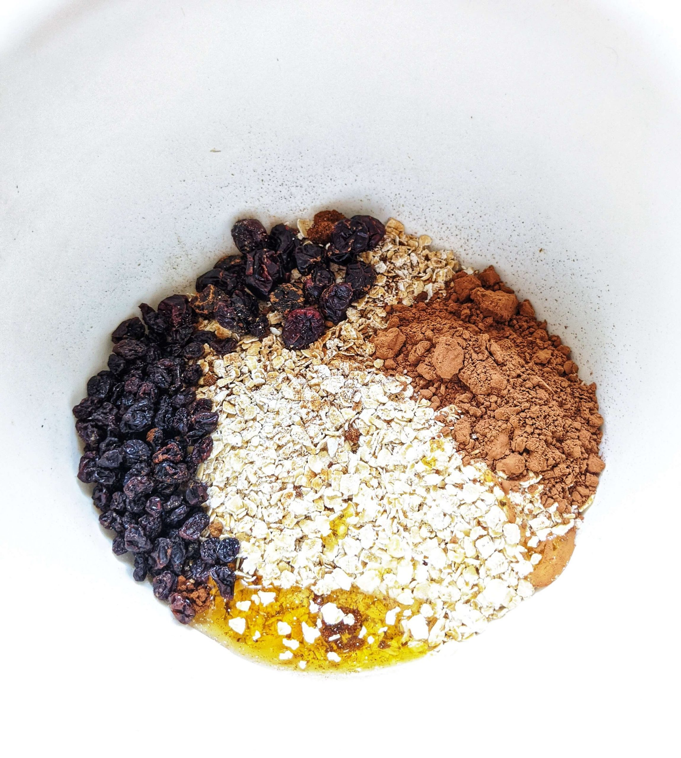 Oats Chocolate Truffle - mixing all the dry ingredients and honey