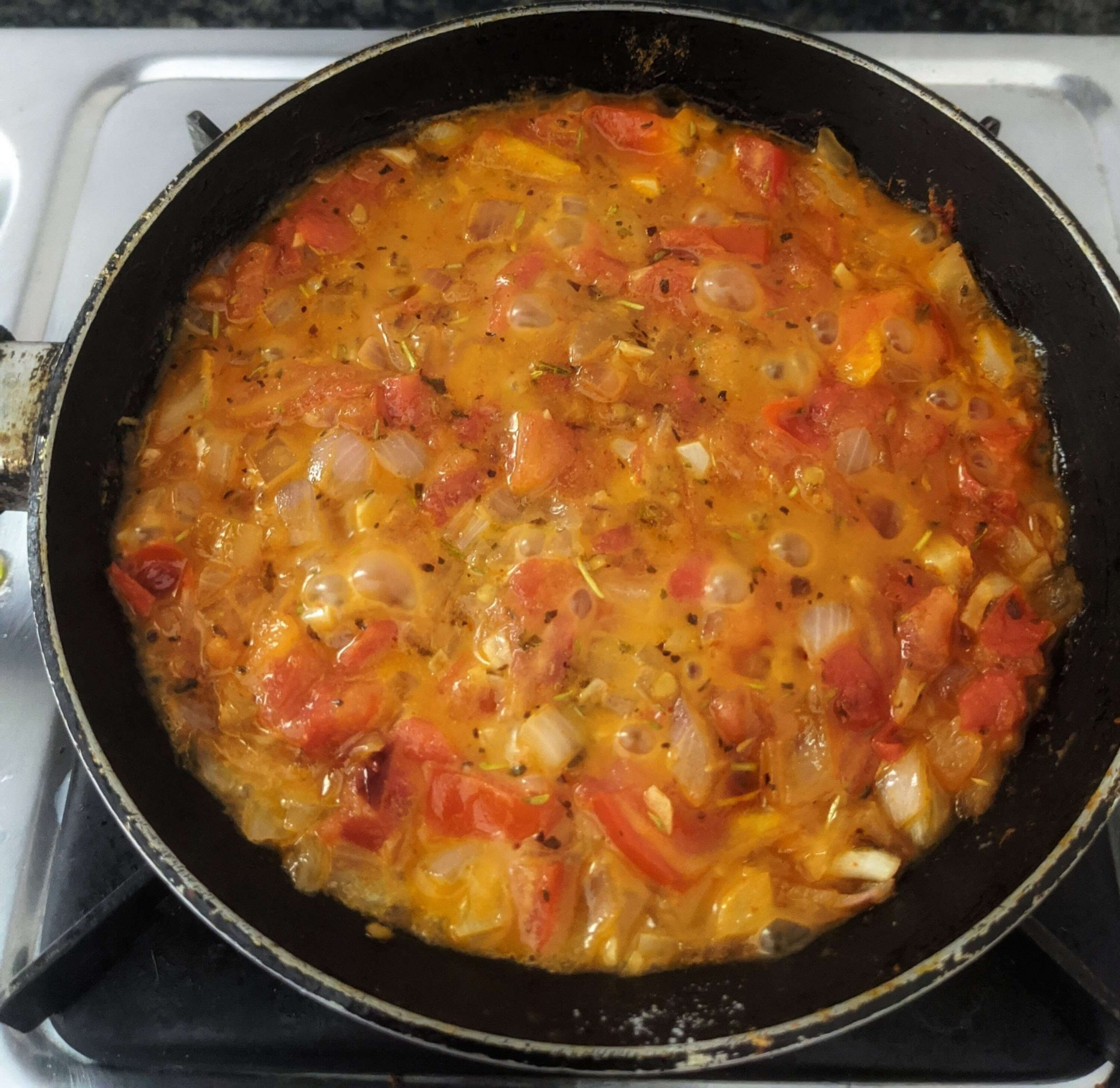 Egg Shakshuka - add spices and milk in it