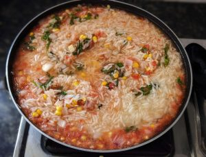 Mexican rice/Spanish rice - mix everything with rice and cook together